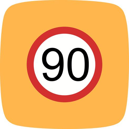 Vector Speed limit 90 Icon.