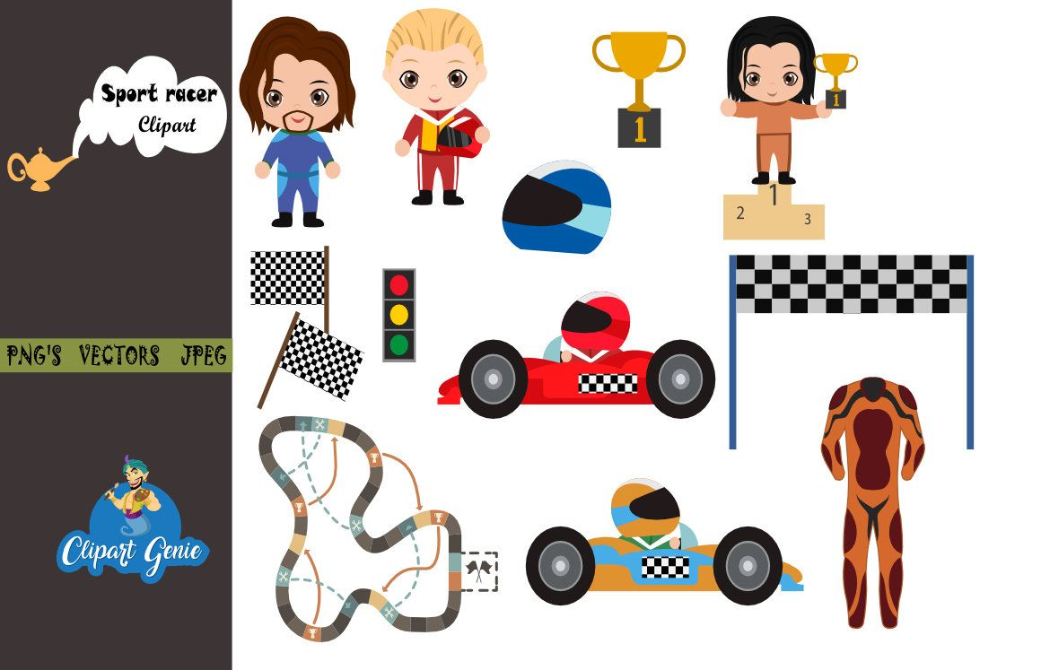 Race Cars Digital Clipart, sport racer clipart, Car race.