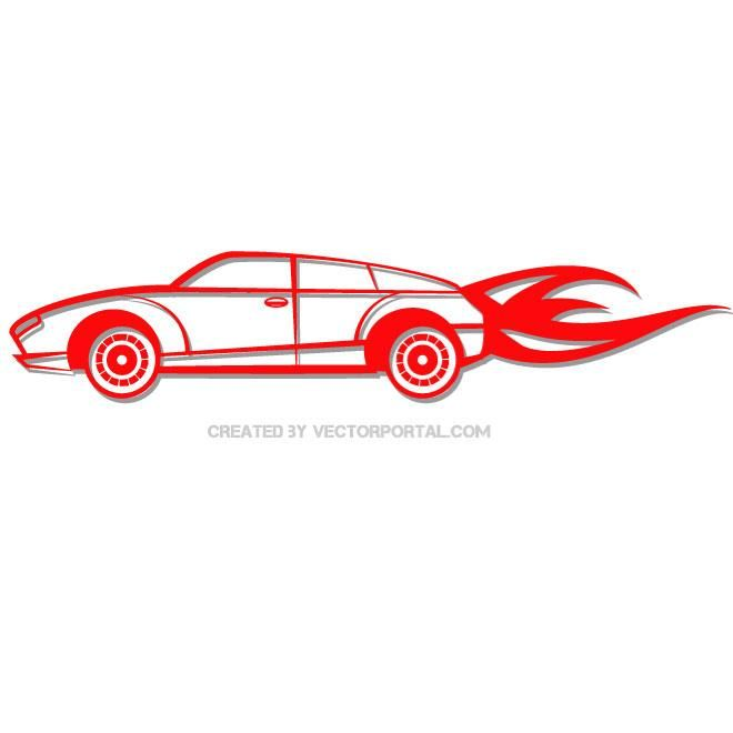 Red fast car vector clip art. in 2019.