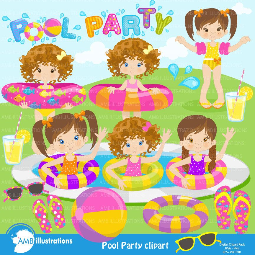 Girl Pool Party Clipart, Swimming clipart, Birthday Party.