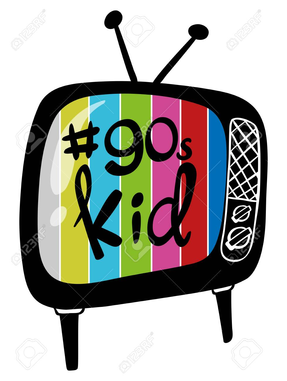Color television with 90s kid on it illustration.