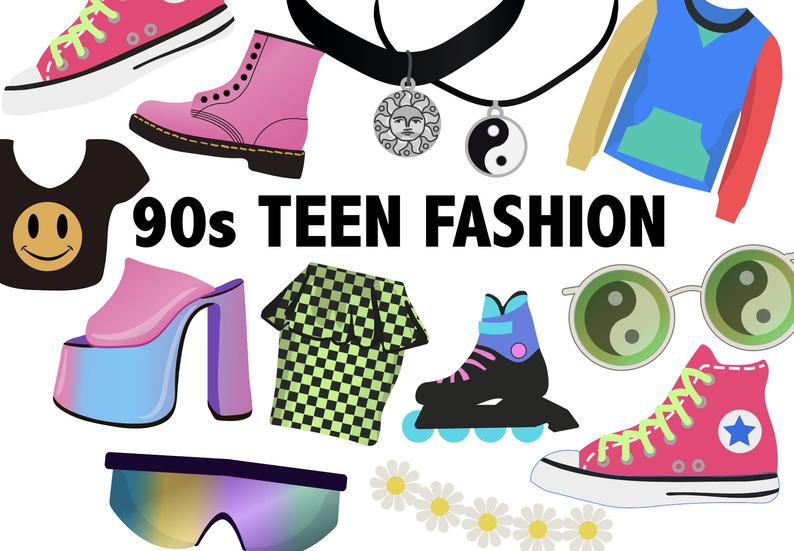 90'S TEEN FASHION CLIPART.