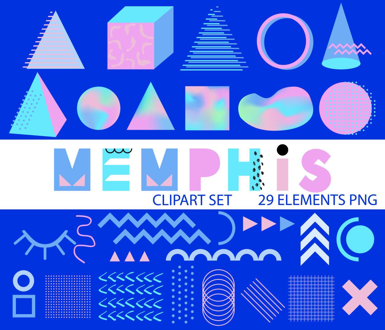 Memphis Style Clip Art, Memphis Design Elements Set, 1980s.