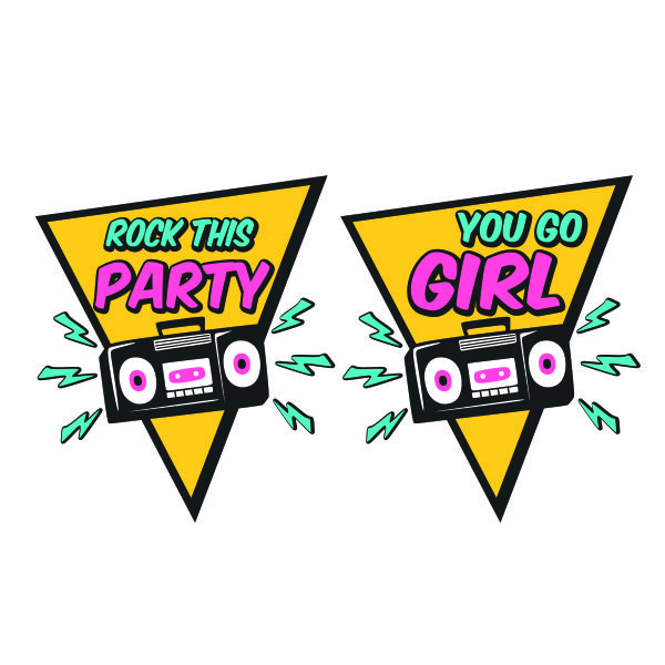80s 90s Theme Rock This Party You Go Girl Cuttable Design.