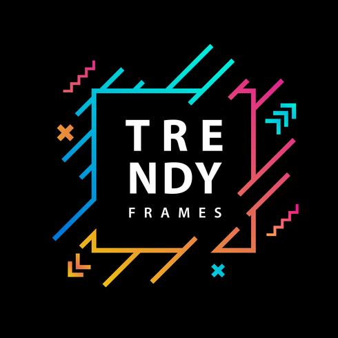 Neon Square Frames With Geometric Lines.