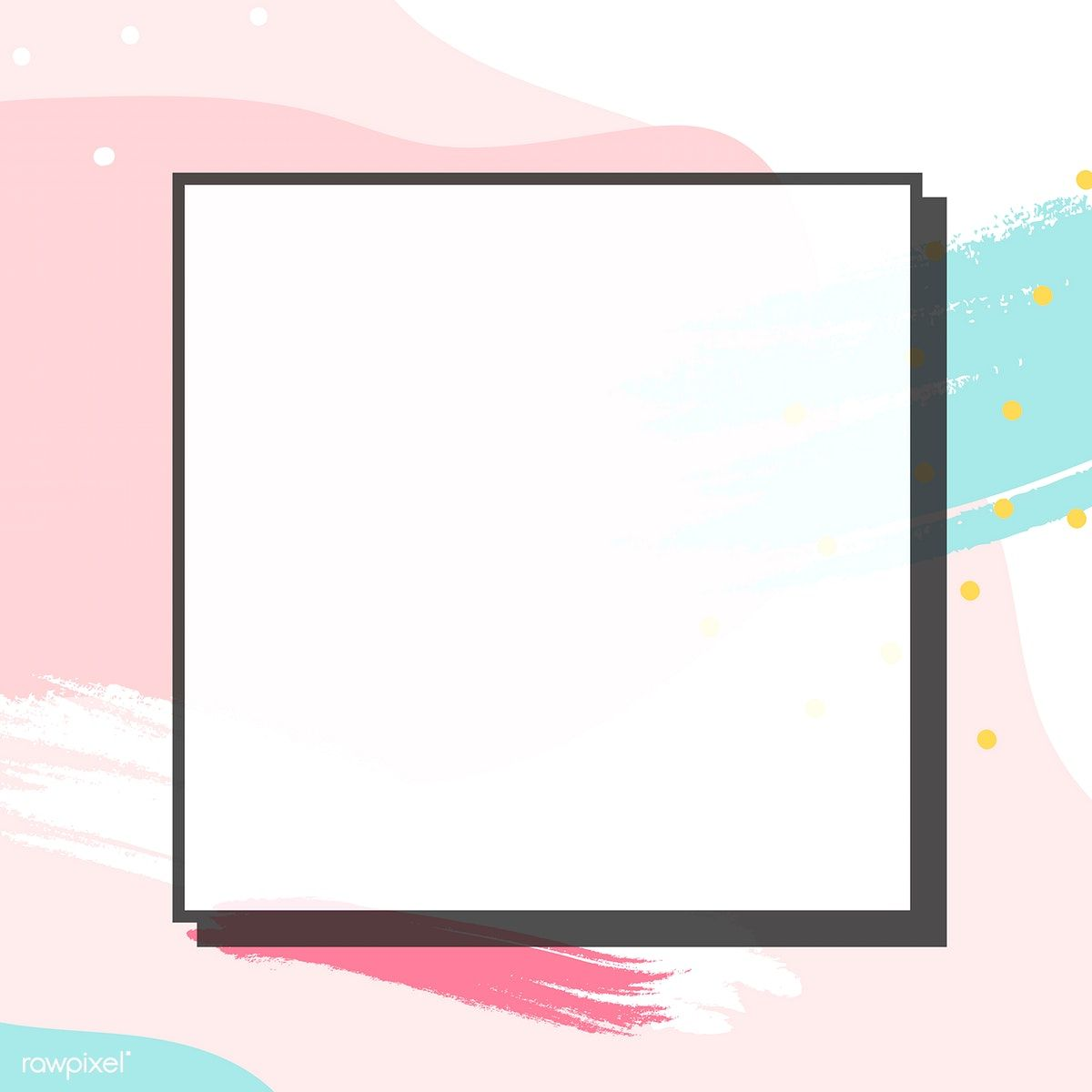 Download premium vector of Blank square pastel Memphis frame.