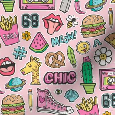 Fabric by the Yard 90\'s Vintage Patches Stickers Doodle Audio Tape, Cactus,  Watermelon, Pizza, Hamburger, Fries & Shoes on Pink.