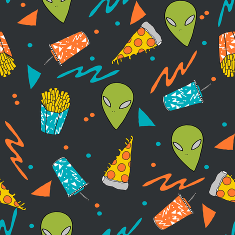 Colorful fabrics digitally printed by Spoonflower.