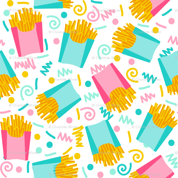 party fries french fries junk food fast food fries fabric.