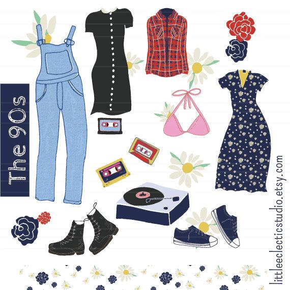 Fashion clipart, 90s clothing, fashion illustration clipart.