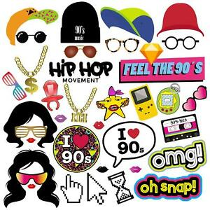 Details about 90s Photo Booth Props, 90s Party Supplies Decorations for Hip  Hop Party.