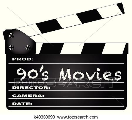 90's Movies Clapperboard Clipart.