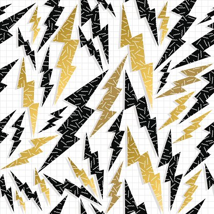 Retro 80s 90s thunder bolt ray pattern gold fancy Clipart.