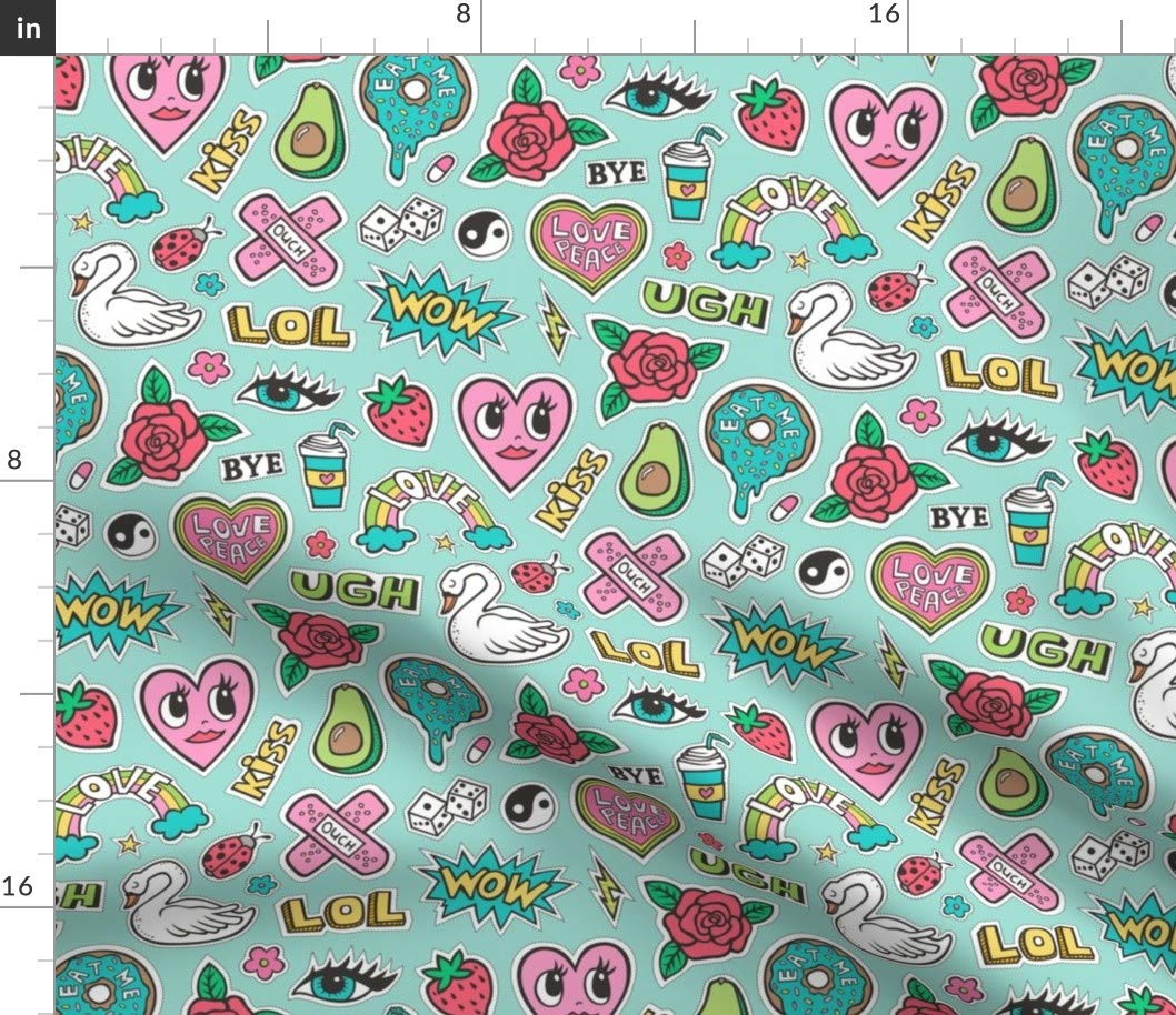 Amazon.com: Spoonflower 90\'s Doodle Fabric.