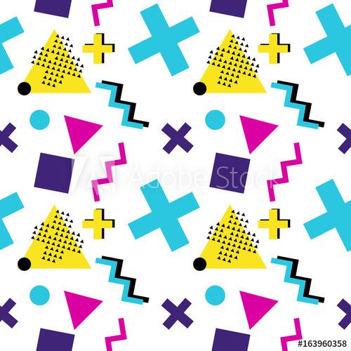 Seamless geometric pattern with triangle, cross, zigzag.