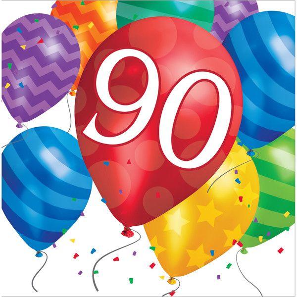 Balloon Blast 90th Birthday Lunch Napkins/Case of 192.