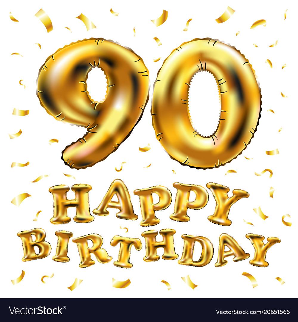 Happy birthday 90th celebration gold balloons and.