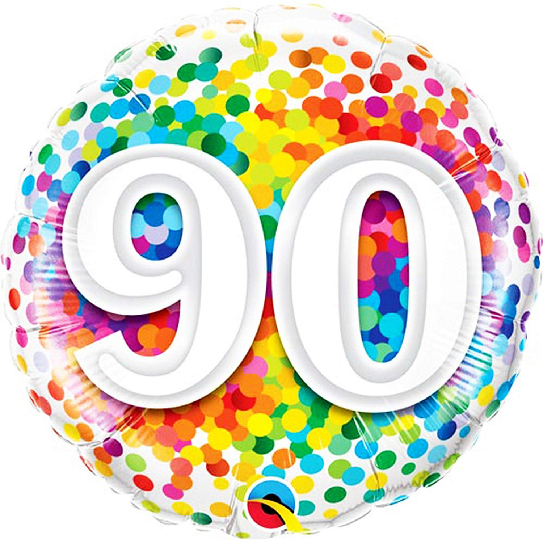 Amazon.com : Qualatex 18 Inch 90th Birthday Rainbow Confetti.