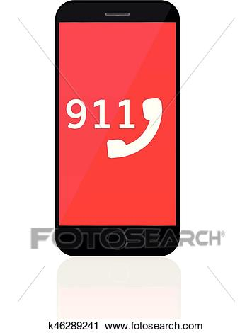 911 Emergency Call Number Mobile phone call police concept Clipart.