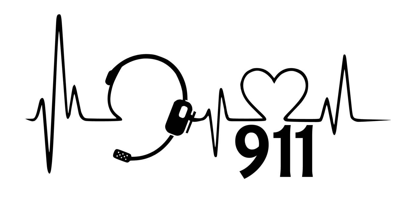 911 Heartbeat with Headset Vinyl Decal.