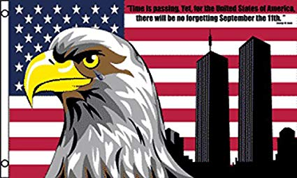 AMERICAN USA EAGLE NEVER FORGET 911 TWIN TOWERS 3 X 5 decoration FLAG.