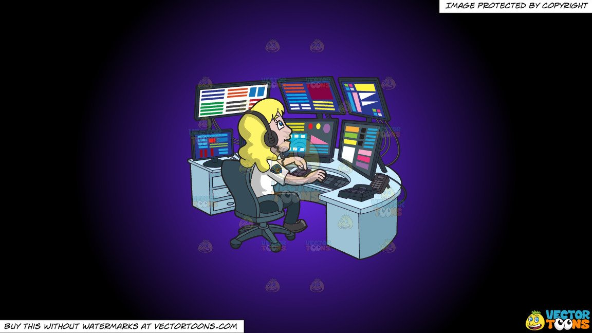 Clipart: A Productive Female 911 Dispatcher on a Purple And Black Gradient  Background.
