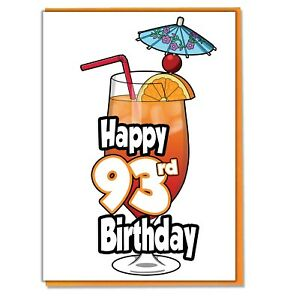 Details about Cocktail 93rd Birthday Card.