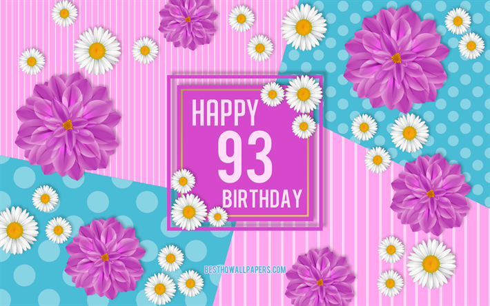 Download wallpapers 93rd Happy Birthday, Spring Birthday.