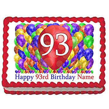 Amazon.com: 93RD Birthday Balloon Blast Edible Image (Each.