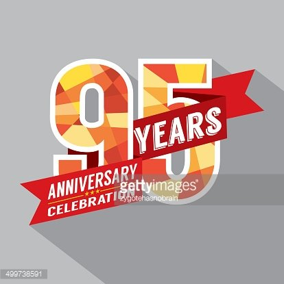 95th Years Anniversary Celebration Design Clipart Image.