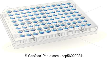 96 well plate for laboratory research testing blue.