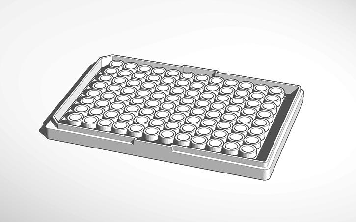 3D design bottom of 96 well plate.