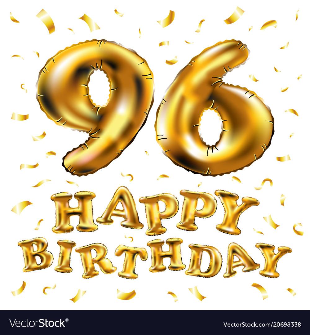 Happy birthday 96th celebration gold balloons and.