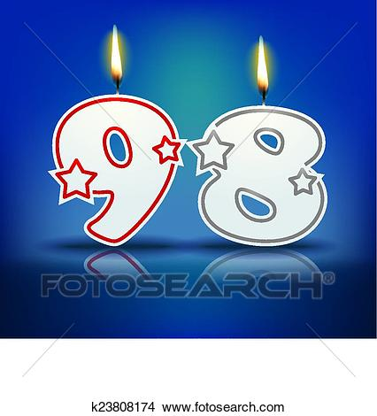 Birthday candle number 98 Clipart.