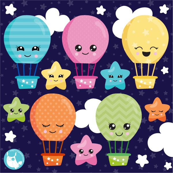 NEW CLIPART RELEASE* Kawaii Air Balloons graphics for only.