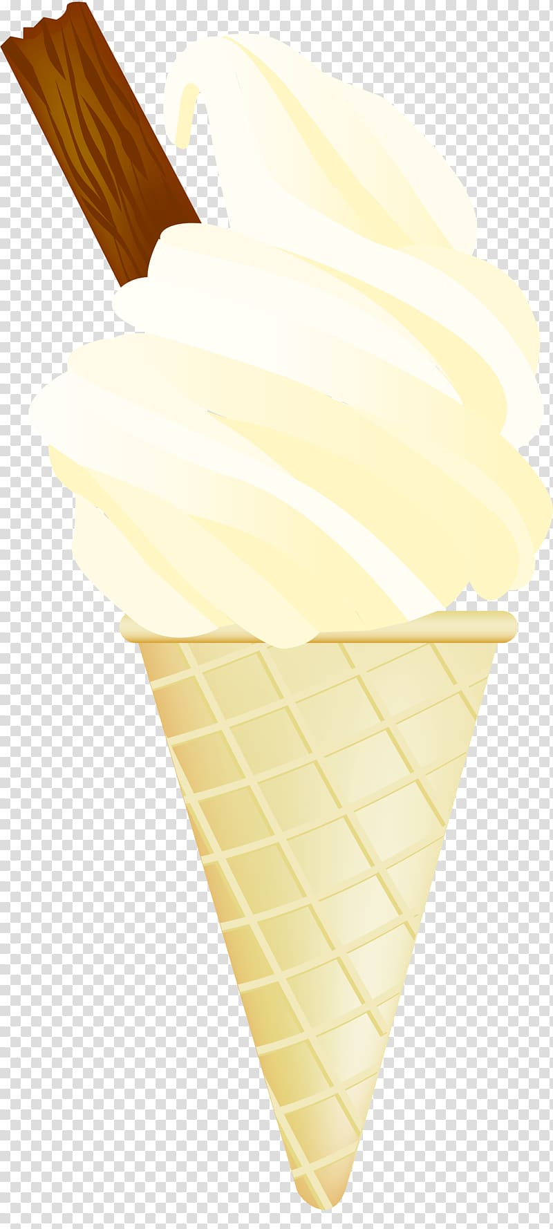 Ice Cream Cones 99 Flake Illustration, Hand painted yellow.