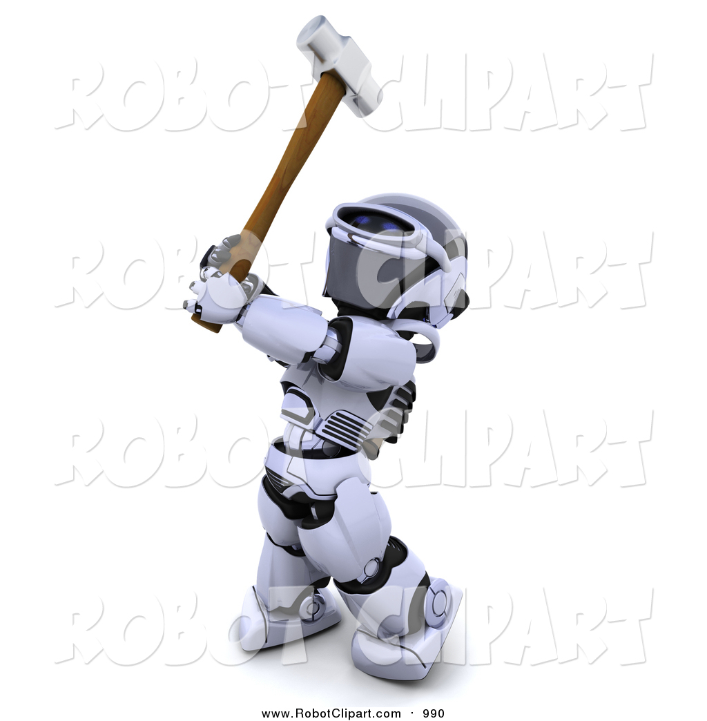 Clipart of a 3d Silver Robot Swinging a Hammer by KJ Pargeter.