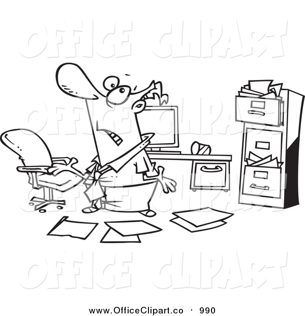 Vector Clip Art of a Lineart Disorganized Businessman in a Messy.