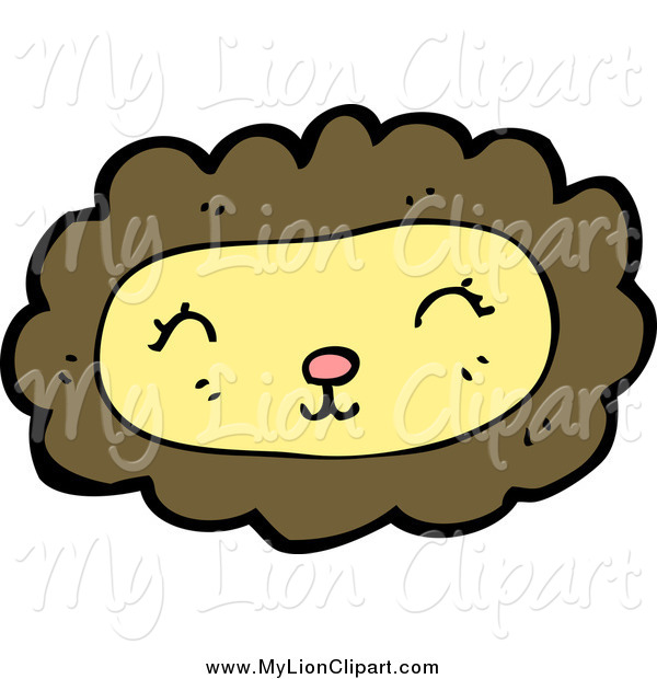Clipart of a Happy Yellow Lion Face with a Brown Mane by.