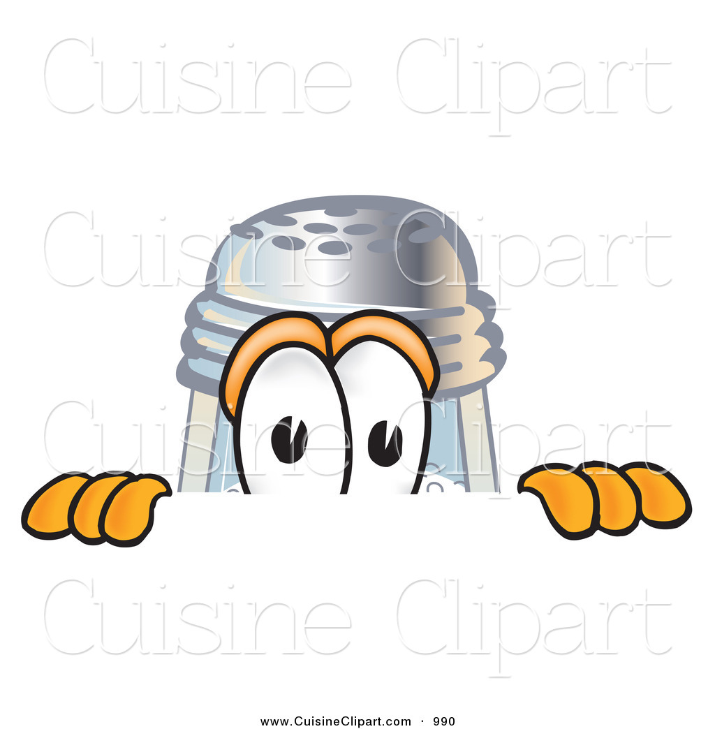 Cuisine Clipart of a Curious Salt Shaker Mascot Cartoon Character.
