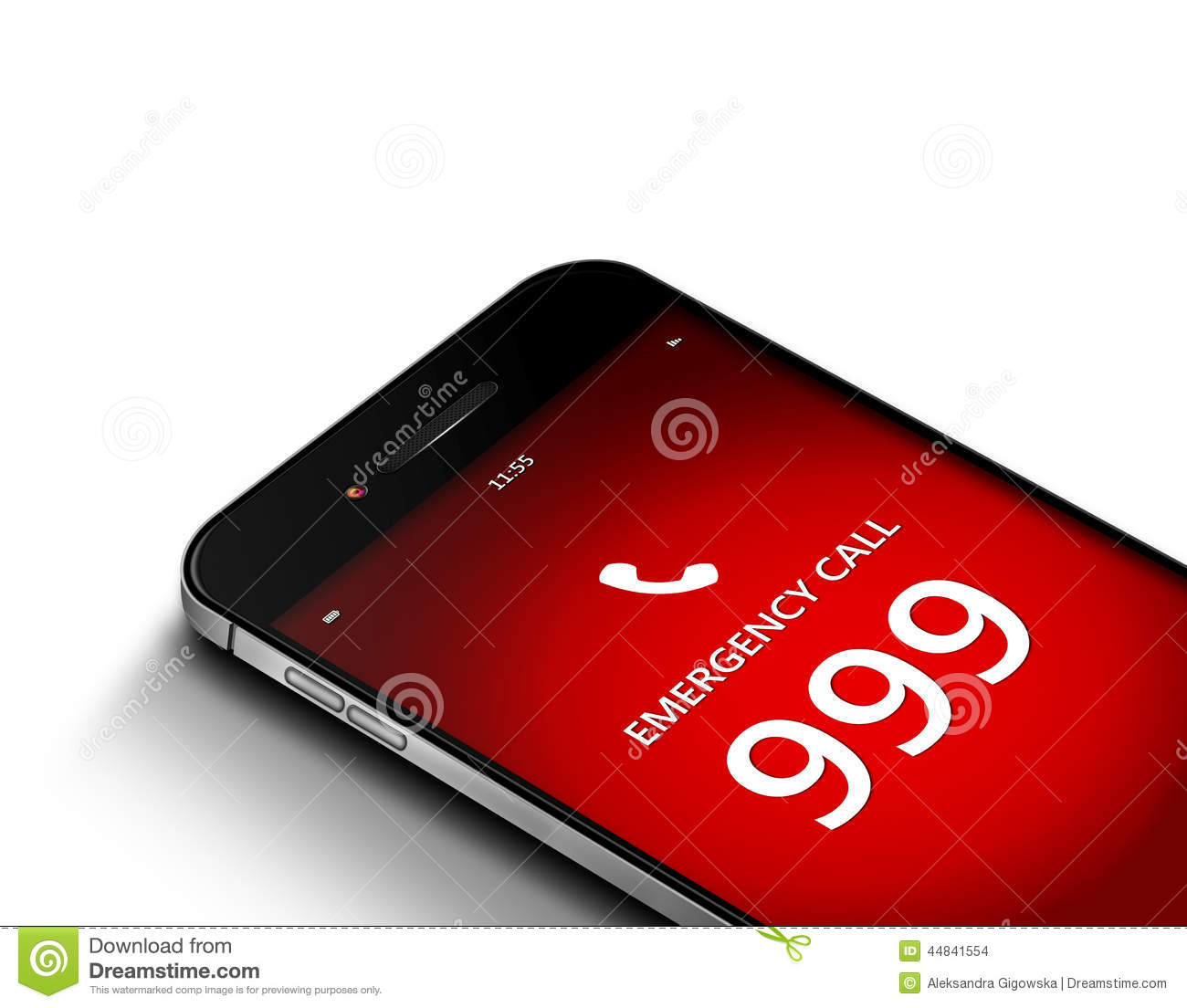 Mobile Phone With Emergency Number 999 Over White Stock.