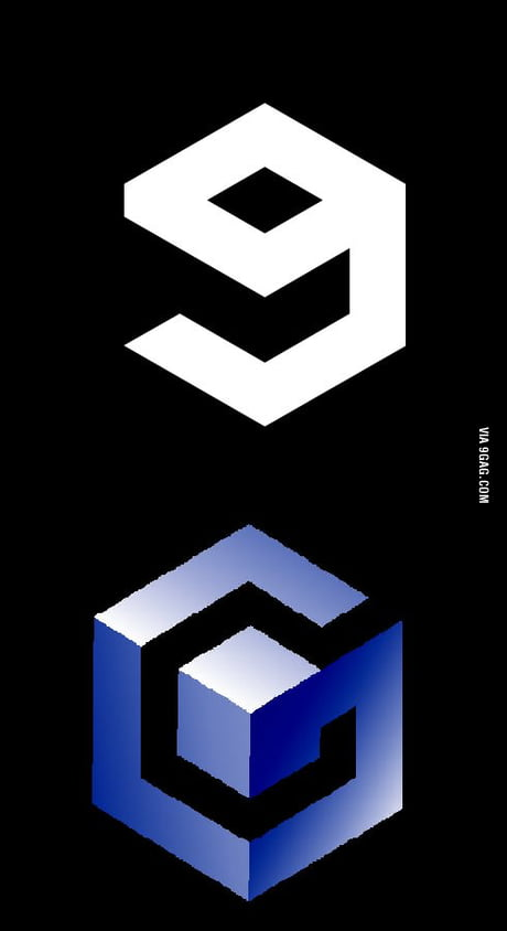 9gag logo is almost exactly like the GameCube logo.