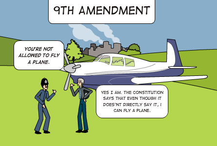 Ninth Amendment: Gives the American citizens more rights than those.