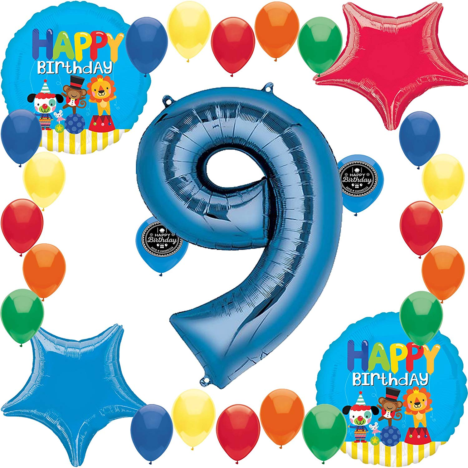 Circus Carnival Friends Party Supplies Fun Colorful Happy Birthday Balloon  Decoration Bundle (9th Birthday).