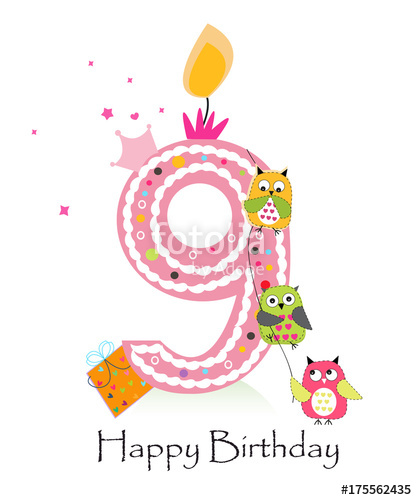 Happy ninth birthday with owls baby girl greeting card