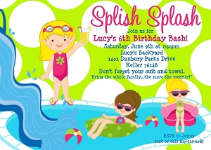 Pool party themed invitations..