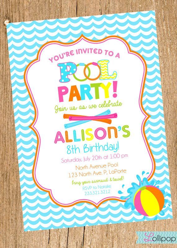 Girl POOL Party Printable Birthday Invitation,Girl Swimming.