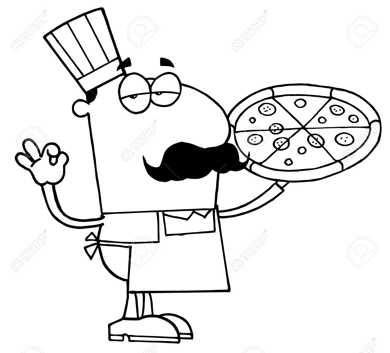 Clipart Illustration Of An Outlined Pizza Cook Royalty Free.