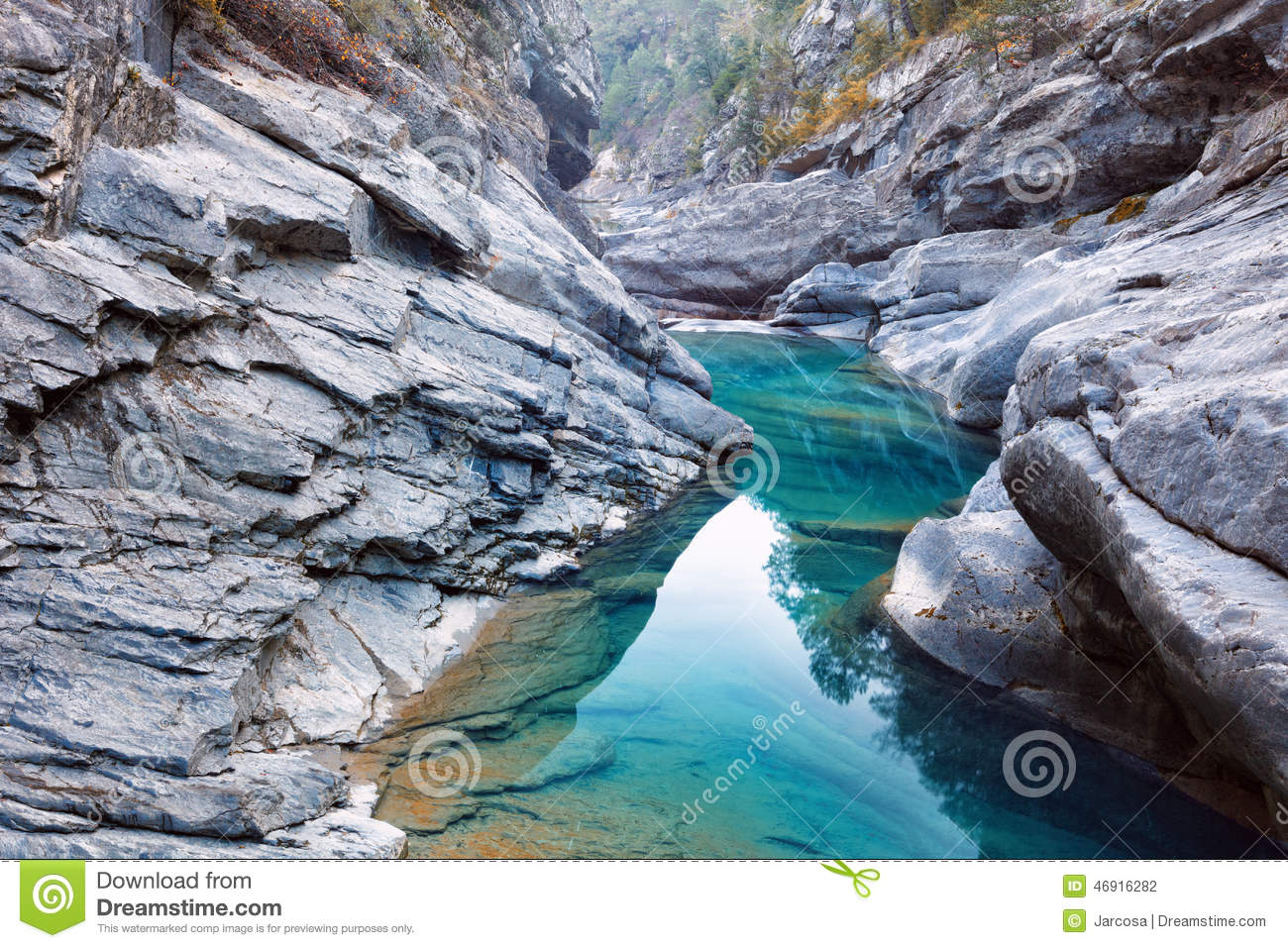Anisclo Canyon In Autumn, Huesca, Spain Stock Photo.