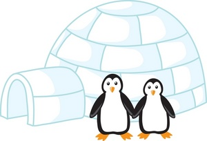 Clipart Image of Two Penguins and an Igloo.